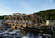Michican-Stadt-Drehbrücke Stockfotos