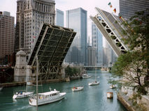 Michigan Avenue Bridge. Is raised in Chicago to allow yachts to pass Royalty Free Stock Photos