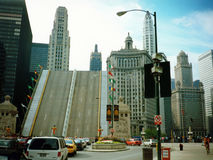 Michigan Avenue Bridge raised, Chicago. Michigan Avenue Bridge is raised in Chicago to allow yachts to pass Stock Image