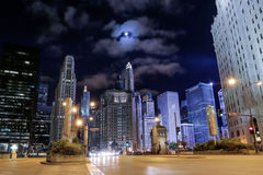 Michigan Avenue in Chicago. At night Royalty Free Stock Photos