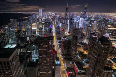Michigan Avenue and Chicago Quarters. At night Stock Images