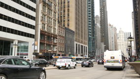 Michigan Avenue in Downtown Chicago Traffic Blurred stock video footage