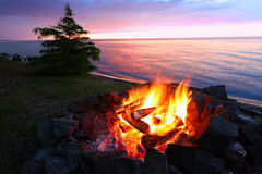 Michigan Beach Bonfire Stock Photos