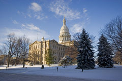 Michigan Capital in winter Stock Image