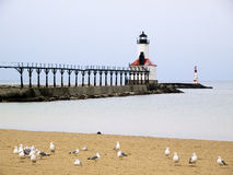 Michigan City East Pierhead Lighthouse, Indiana royalty free stock photography