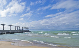 Michigan City East PierHead Lighthouse stock photos