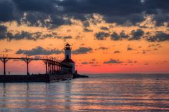 Michigan City East Pierhead Lighthouse After Sunset royalty free stock photography