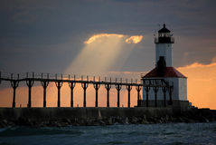 Michigan City Indiana lighthouse. Lighthouse at sunset on lake Michigan stock photography