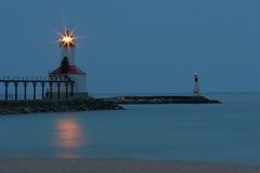 Michigan City IN Lighthouse. Michigan City Indiana Pier Lighthouse on Lake Michigan Royalty Free Stock Photo