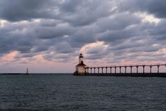 Michigan City Lighthouse. At dawn. Michigan City, Indiana, USA stock photography