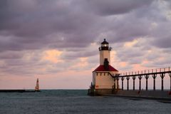 Michigan City Lighthouse. At dawn. Michigan City, Indiana, USA royalty free stock images