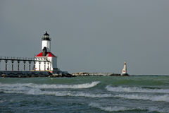 Michigan City Lighthouse. Michigan City Indiana Lighthouse on lake Michigan royalty free stock photos