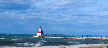 Michigan City Lighthouse. Lighthouse On Lake Michigan Shoreline In Winter - Michigan City Indiana stock photography
