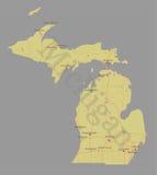 Michigan detalhou o mapa detalhado exato do estado do vetor ilustração royalty free