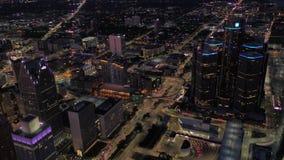 Michigan Detroit la noche aérea 4K de julio de 2017 inspira 2 metrajes