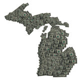 Michigan Dollar Outline. Conceptual Image of the state of Michagan portrayed with Dollar Bills stock images