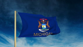 Michigan flag slider style with title. Waving in stock footage