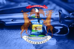 Michigan flag U.S. state Gun Control USA. United States. Gun Laws Stock Photography