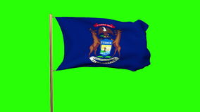 Michigan flag waving in the wind. Green screen. Alpha matte. Loops animation stock footage