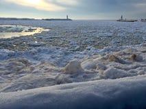 Michigan fryste vatten fotografering för bildbyråer