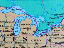 Michigan and Great Lakes on a Map. Michigan, the Great Lakes and surrounding areas on a map stock photo
