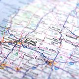 Michigan Highway Map Close Up. Road map of Michigan and major cities of Grand Rapids and Lansing royalty free stock images