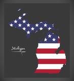 Michigan-Karte mit amerikanischer Staatsflaggeillustration Lizenzfreies Stockbild