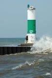 michigan lighthouse and tourist stock image