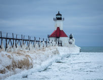A Michigan Lighthouse in Winter. St. Joseph North Pier Lighthouse in January Royalty Free Stock Photos