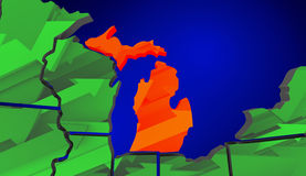 Michigan Map United States America Growth Increase Improve Royalty Free Stock Photo