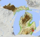 Michigan, mapa de relevo Ilustração Stock