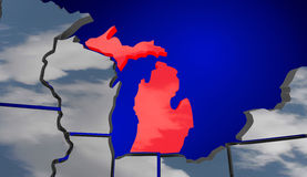 Michigan MI Map Clouds USA United States America Weather Forecas Royalty Free Stock Photography