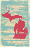 Michigan nostalgic rustic vintage state vector sign. Rustic vintage style U.S. state poster in layered easy-editable vector format Royalty Free Stock Photo