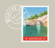 Michigan postage stamp design. Vector illustration. Michigan postage stamp design. Vector illustration of sandstone formations on Lake Superior shoreline Royalty Free Stock Photos