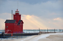 Michigan red lighthouse in winter Royalty Free Stock Photo