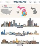 Michigan`s congressional districts map with capital and major cities skylines of Michigan. Vector illustration. Michigan`s congressional districts map with Stock Photos