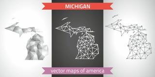 Michigan-Sammlung der modernen Karten-, Grauer und Schwarzer und silbernerdes punktentwurfs-Mosaiks 3d Karte des Vektordesigns Lizenzfreie Stockfotografie