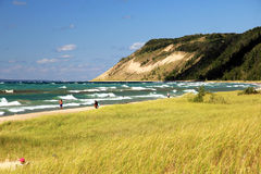 Michigan Sand Dunes and Beach. Lake Michigan and dunes taken from a beach in the Sleeping Bear Dunes National Lakeshore area Stock Images