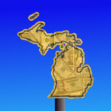 Michigan sign with cash Royalty Free Stock Photo