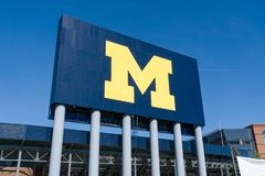Michigan Stadium Sign at University of Michigan. ANN ARBOR, MI/USA - OCTOBER 20, 2017:  Michigan Stadium sign on the campus of the University of Michigan Stock Photography