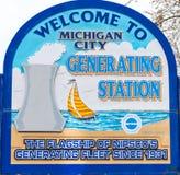 Michigan-Stadtelektrizitätswerkwillkommensschild Stockfoto