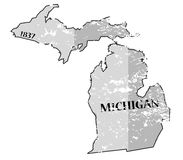 Michigan State and Date Map Grunged Stock Photo