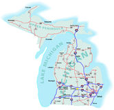 Michigan State Interstate Map Royalty Free Stock Photo