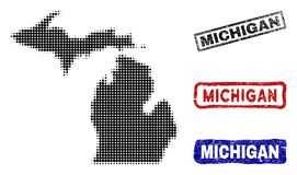 Michigan State Map in Halftone Dot Style with Grunge Caption Stamps vector illustration