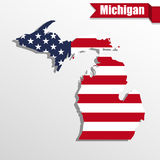 Michigan State map with US flag inside and ribbon Stock Photo