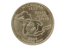 Michigan State Quarter Coin Royalty Free Stock Images