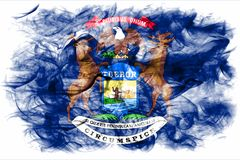 Michigan state smoke flag, United States Of America. On a white background royalty free stock photos