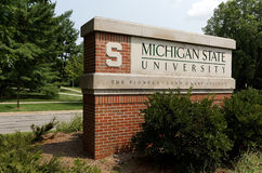 Michigan State University. East Lansing, MI, USA - August 1, 2014: An entrance to Michigan State University. MSU is a public research university located in East Stock Photos