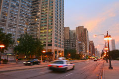 Michigan street at twilight sky in Chicago downtown Royalty Free Stock Photo