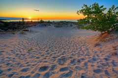 Michigan sunset. Scenic sunset in the dunes of Northern Michigan Stock Photo